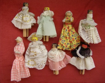 Vintage Hand Made Clothespin Dolls - Set of 8