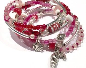 Beach Bracelet, Wrap Bracelet, Boho Bracelet, Beach Jewelry, Shell Jewelry, Shell Bracelet, Ocean Jewelry, Sea Lover Gift for Her