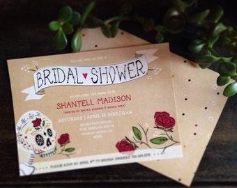 Customizable Sugar Skull Bridal Shower Invites