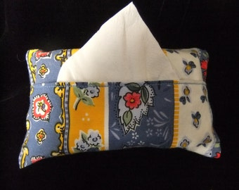 Pocket Tissue Holder, French Country Blue, White, Red, and Yellow