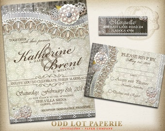 Rustic Lace Wedding Invitation and RSVP Stationery - Lace Burlap Wood Wedding Invitation Printable - DIY Lace Wedding, Printable  Invite