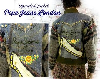 sweater sleeve jacket ,women's denim jacket ,  Sweater Jacket , blue jean jacket  , Shabby chic jacket , denim and sweater ,size Large # 19
