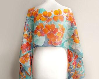Silk scarf nasturtium - hand painted orange flowers - turquoise and teal scarf - summer floral pattern gardener gift - big wrap scarves