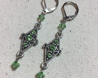 Diamonds Are Forever Pewter and Swarovski Crystal Dangle Earrings in Peridot and Silver