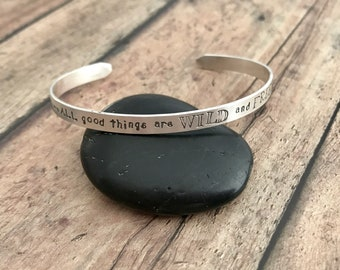 Wild and Free Cuff Bracelet, Henry David Thoreau Quote, Sterling Silver, Wild and Free Cuff Bracelet