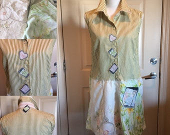 Summer upcycled dress/tunic - one of a kind - eco friendly - artsy - boho clothing - wearable art - fun and funky - recycled - repurposed