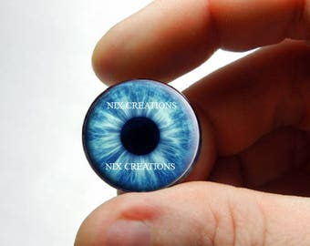 Glass Eyes - Blue Zombie Human Doll Taxidermy Eyes Handmade Glass Cabochons - Pair or Single - You Choose Size