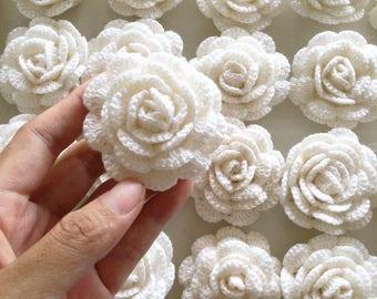 "Lot 12 pcs Small Crochet Flowers Shabby chic Roses Handmade Applique Embellishment in White size 2"""