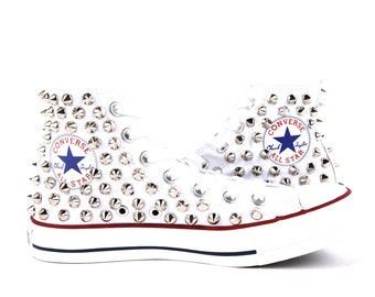Original Converse AllStar Chuck Taylor high top studded  Converse stud sliver spike on WHITE Shoes