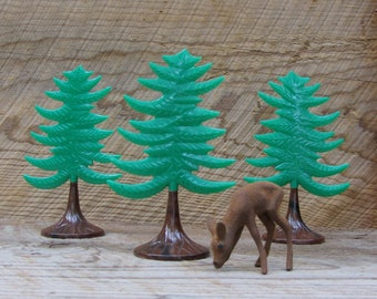 """Vintage Pine Tree Toy """"Pick 1 or More"""" Plastic Christmas Trees Plasticville Toy Cake Topper"""