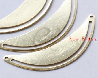 10 Pieces Raw Brass Half Circle Link - Pendant - Charm 50.6x18mm (1989C-F-504)