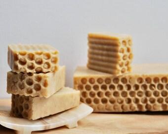 Honey Oatmeal Clay Turmeric Soap,Hot Process Soap, 100% Natural Handmade Soap. Mild moisturizing soap, Problem skin, Eczema Soap, Vegan Soap