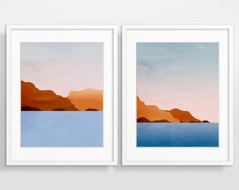Abstract Art Print Set of 2, Scandinavian Print, Wall Art Set, Mid Century Modern Art, Minimalist Art, Sunset Prints, Abstract Landscape