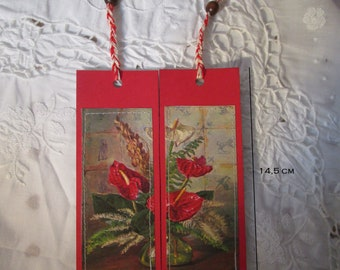 Set of two card bookmarks-postcards-flowers-recycled-handmade recycle-hand-made bookmarks-recycled paper