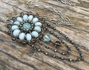 Aigue marine Collier - Collier Long Boho Chic - Mandala - bleu pierres précieuses vertes et collier en argent Sterling - bijoux Bohème