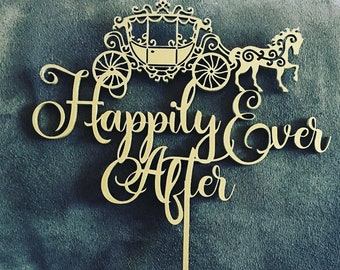 Happily Ever After- Cinderella Carriage Wood Wedding Cake Topper