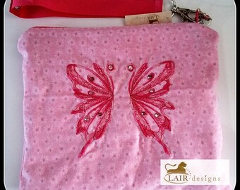 Pink Butterfly Wristlet with Detachable Handle