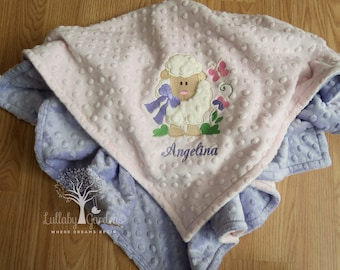Personalized Minky Baby Blanket, Lamb Appliqued Minky Blanket,  Personalized Baby Blanket, Personalized Baby Girl Blanket, Lamb Baby Blanket
