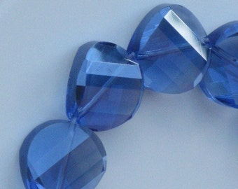 Sapphire Faceted Wavy Round Coin Crystals 18mm