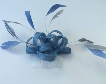 Pale Blue Fascinator Hair Comb with feathers, small and simple, wedding fascinator