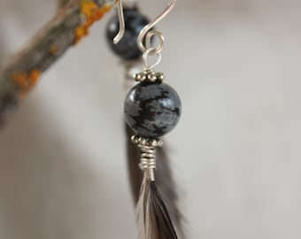 Long feather earrings with silver fixtures
