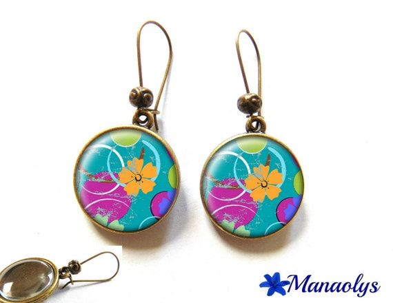 Earrings sleepers bronze, retro, flowers, hibiscus, orange and multicolored circles on blue background 2706