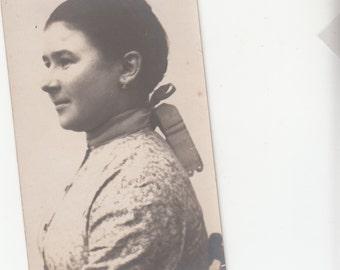 1920s RPPC Woman's Portrait Side, Earrings And Bow In Back Postcard