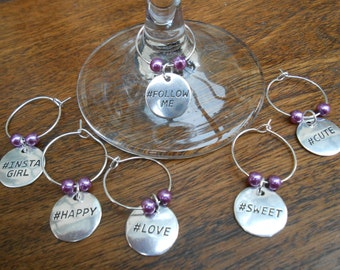 Wine Glass Charms, Hashtag Wine Glass Charms, Wine Charms, Set of Six Wine Glass Charms, Fun Wine Glass Charms