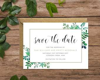 Rustic | Greenery | Foliage | Save the Date Cards A6 (Digital File - Printable PDF)