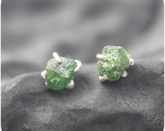 Raw Gemstone Earrings in Sterling Silver with Aquamarine or Tsavorite - Hard Candy Studs