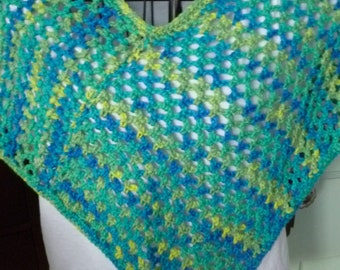 Girl's Blue Green Poncho