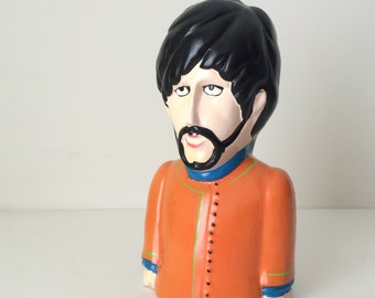 1968 Beatles Yellow Submarine George Harrison Collectible Coin Bank, Mother's Day Music Gift, Rare 60's Beatles Collectible, Pride Creations