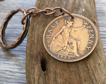 85th, 84th or 83rd birthday gift, 1933, 1934 or 1935 coin keyring, British half penny key chain, Britannia key fob, present for man, woman