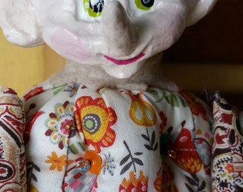 Art doll. Christmas elf. Doll. Soft doll. Folkart. Art.  Sale. Christmas gift. Vintage.  Reduced price!