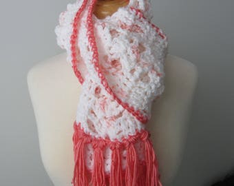 White and Coral Crocheted Scarf