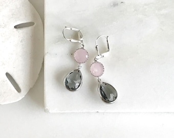 Bridesmaid Earrings. Pink Earrings. Gray Charcoal Earrings. Wedding Jewelry. Bridal Earrings. Pink Dangle Earrings. Bridesmaid Gift. Bridal.