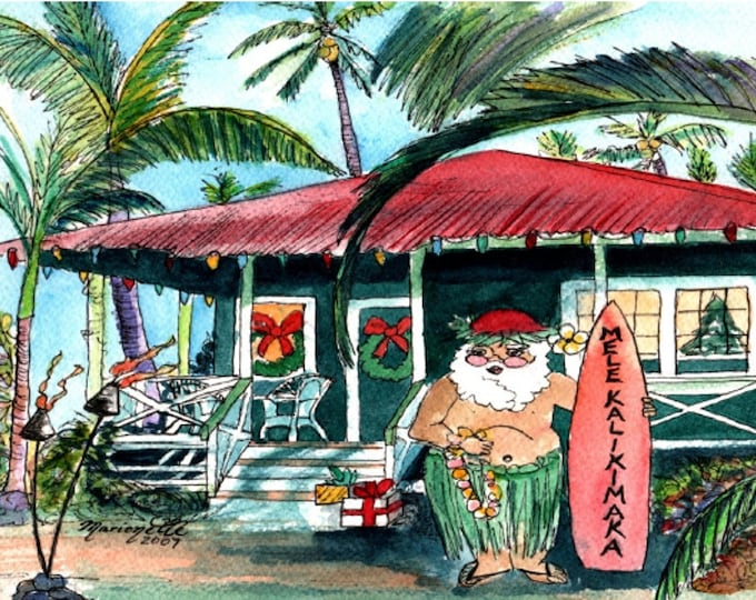 Printable DIY Hawaiian Christmas card 5x7 pdf from Kauai Hawaii Mele Kalikimaka Holiday