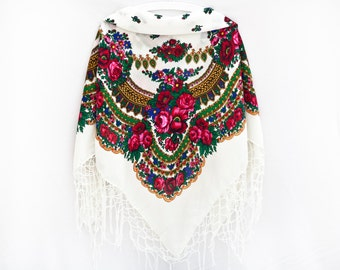 Summer Party, White Boho Floral Shawl Russian Shawl Chale Russe White Shawl Bohemian Scarf Babushka Shawl Square Scarf Summer Outdoors (066)