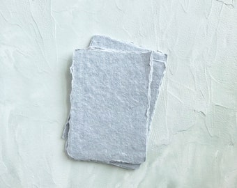 """Gray Color 2.5x3.5 inches (2.5"""" x 3.5"""") Handmade Cotton Rag Paper Deckle Edge Letterpress Wedding Invitation 250gsm 