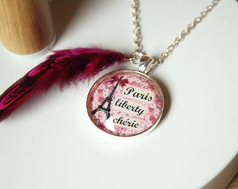 Fuchsia feather and liberty paris eiffel tower glass cabochon necklace