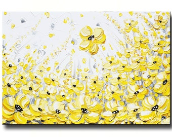 "GICLEE PRINTS Large Art Yellow Grey Abstract Painting Wall Decor Flowers Modern Coastal Canvas Print Gold White XL Sizes to 60"" -Christine"