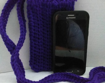 Crocheted purple cross body cell phone pouch cozy