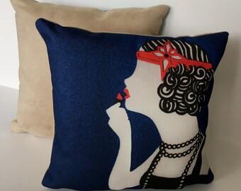 """Art Deco Flapper Girl 11"""" x 11"""" Cushion"""