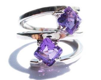 Dark Purple Ring 925 Sterling Silver with Amethyst Gemstones