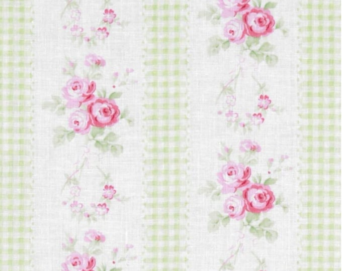 Slipper Roses by Tanya Whelan - Country Ticking TW085 Green, select a length