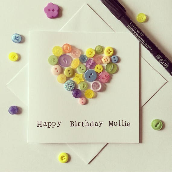 Personalised Birthday Greetings Card embellished with a button heart