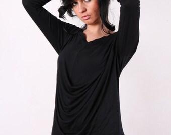 Cowl Neck Top Drape Top in Black
