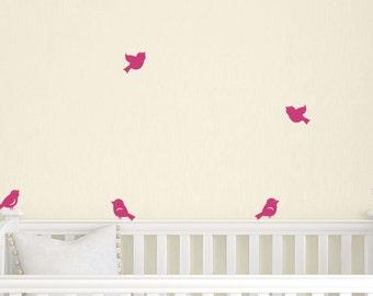 ON SALE Little Birds Wall Decals - Set of 8 - Nursery Wall Decal - Children Vinyl Decals