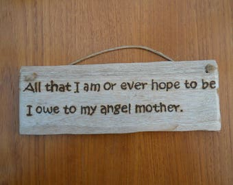 Wooden Mother Signs, Angel Mother, Love, Mum, Mom, Mother's Day