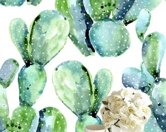 Removable wallpaper/Wallpaper/Peel and Stick wallpaper/Modern Wallpaper /Watercolor cactus  wallpaper S063